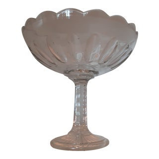 Mid-Century Art Deco Cut Glass Centerpiece/ Footed Fruit Bowl For Sale