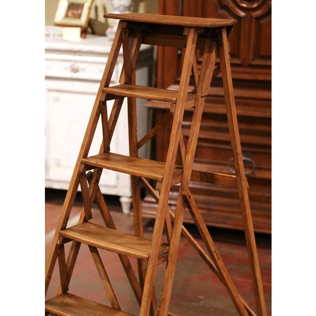 French 19th Century French Napoleon III Carved Walnut Folding Library Six-Step Ladder For Sale - Image 3 of 12