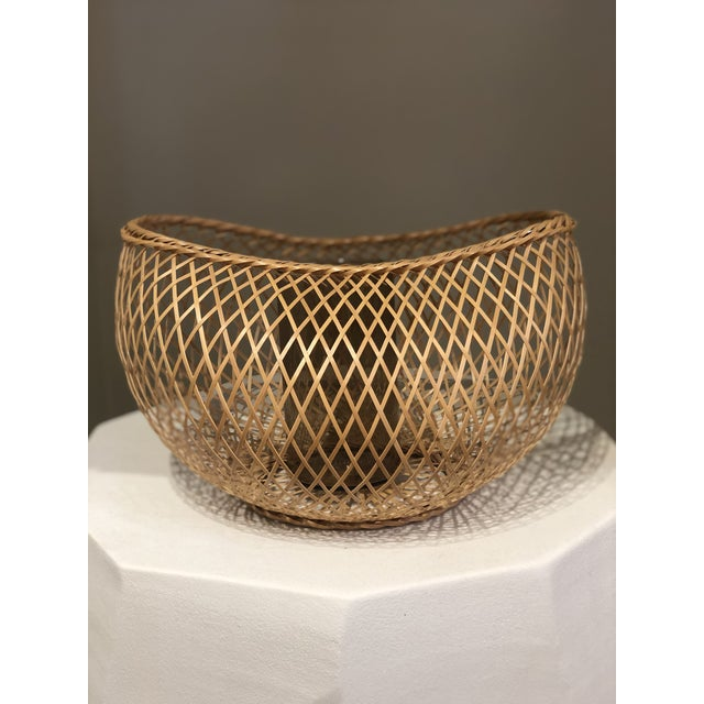 Asian Japanese Style Bamboo Basket For Sale - Image 3 of 5