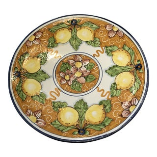 Italian Hand Painted Lemon Round Decorative Plate For Sale