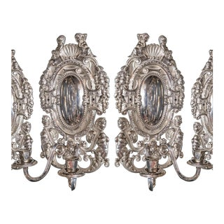 Large 1920's Caldwell Silver Plated Sconces - a Pair For Sale