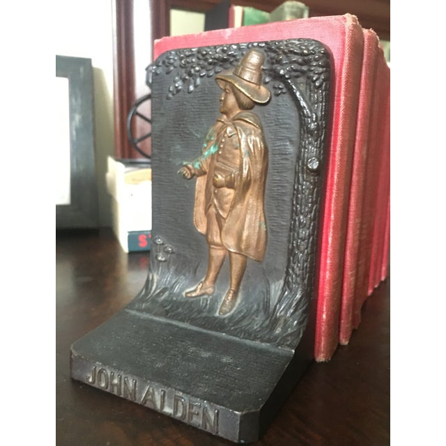 American Bradley & Hubbard Cast Iron Pilgrim Bookends - a Pair For Sale - Image 3 of 9