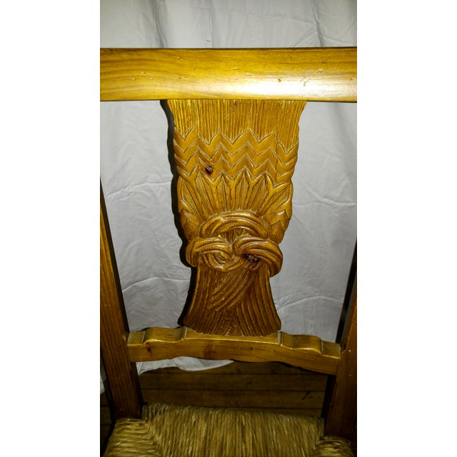 1970s French Country Hand Carved Rush Seat Chairs - Set of 4 For Sale - Image 10 of 13
