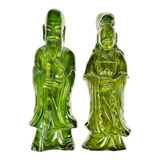 Art Deco Green Ceramic Glazed Asian Figural Wall Art - Set of 2