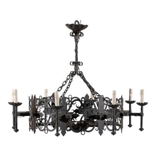 Vintage Italian Eight-Light Iron Circular Chandelier For Sale