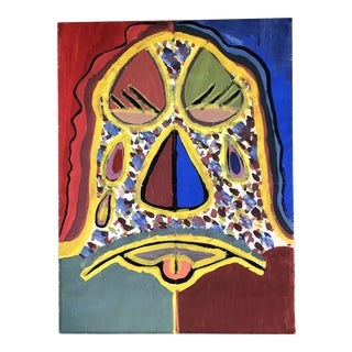 Original Vintage Abstract Face Painting For Sale