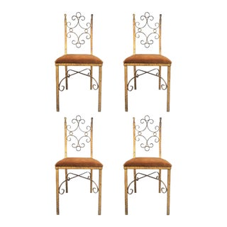 Four French Wrought Iron Gold Gilt Chairs Manner of Gilbert Poillerat For Sale