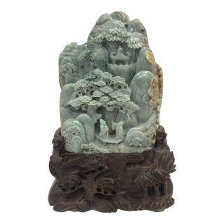 20th Century Chinese Carved Dark Green Jade Mountain For Sale