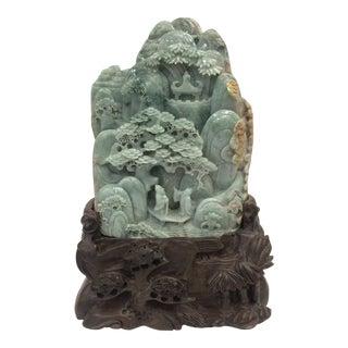 20th Century Chinese Carved Dark Green Jade Mountain