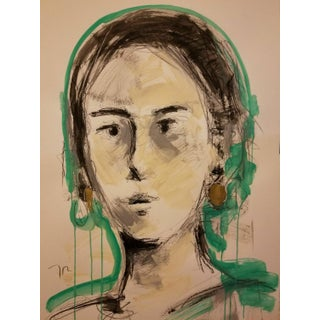Jose Trujillo Original Portrait Woman Face Modern Drawing Painting For Sale