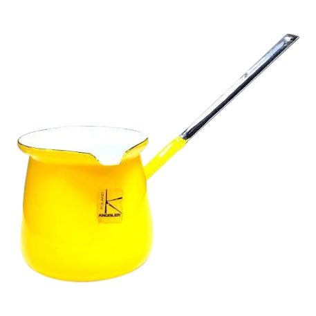 1960s Knobler Poland Yellow Enamel Pitcher Scool For Sale