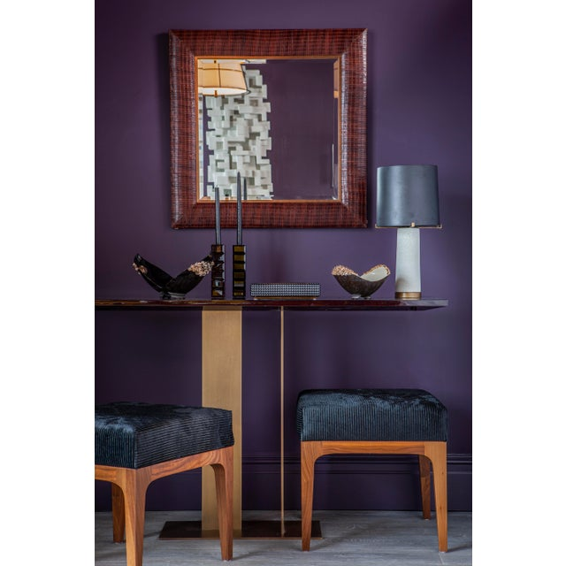 Laura Weave Leather Mirror For Sale In New York - Image 6 of 6