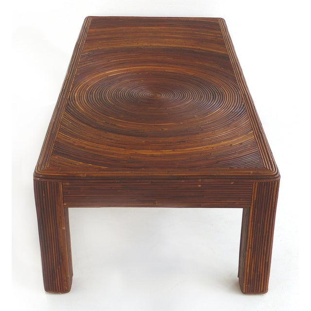 Wood Pencil Reed Mid-Century Modern Coffee Table in the Style of Gabriella Crespi For Sale - Image 7 of 11