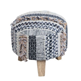White Black and Gold Three Legged Cotton Stool For Sale