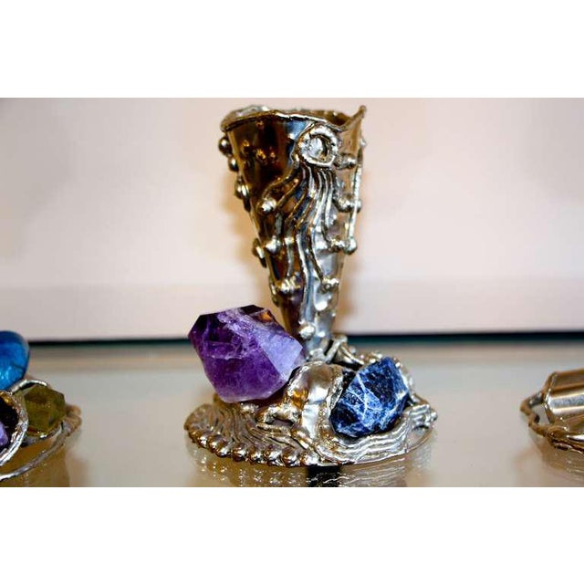 Metal Vases With Semi-Precious Stones- Set of 3 For Sale - Image 4 of 10