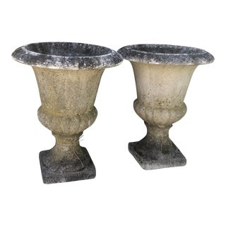 Vintage Limestone Composite Urns - A Pair For Sale