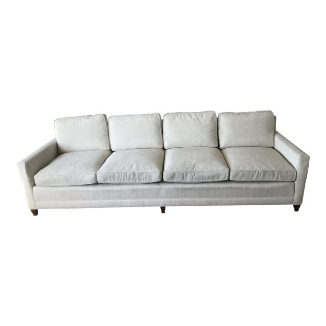 Mid-Century Cream Jacquard Upholstered Sofa For Sale