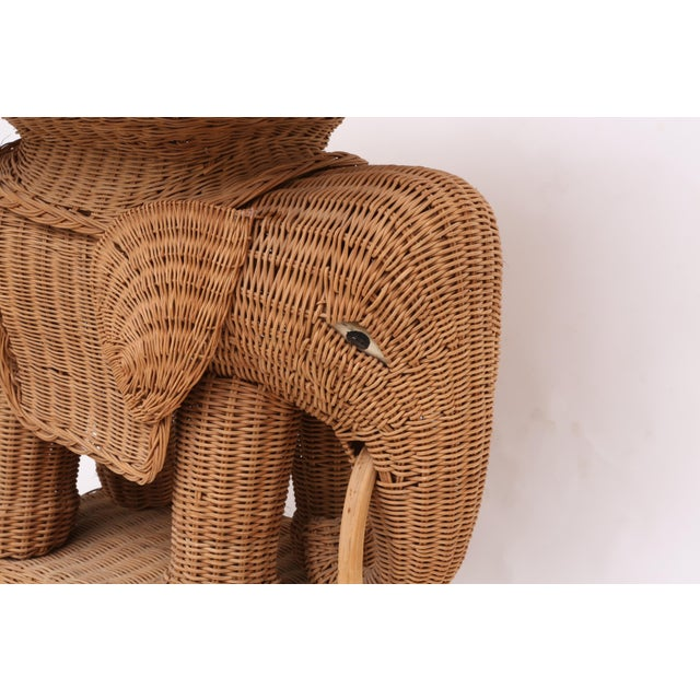 Vintage Rattan Wicker Elephant Side Table - Image 4 of 9