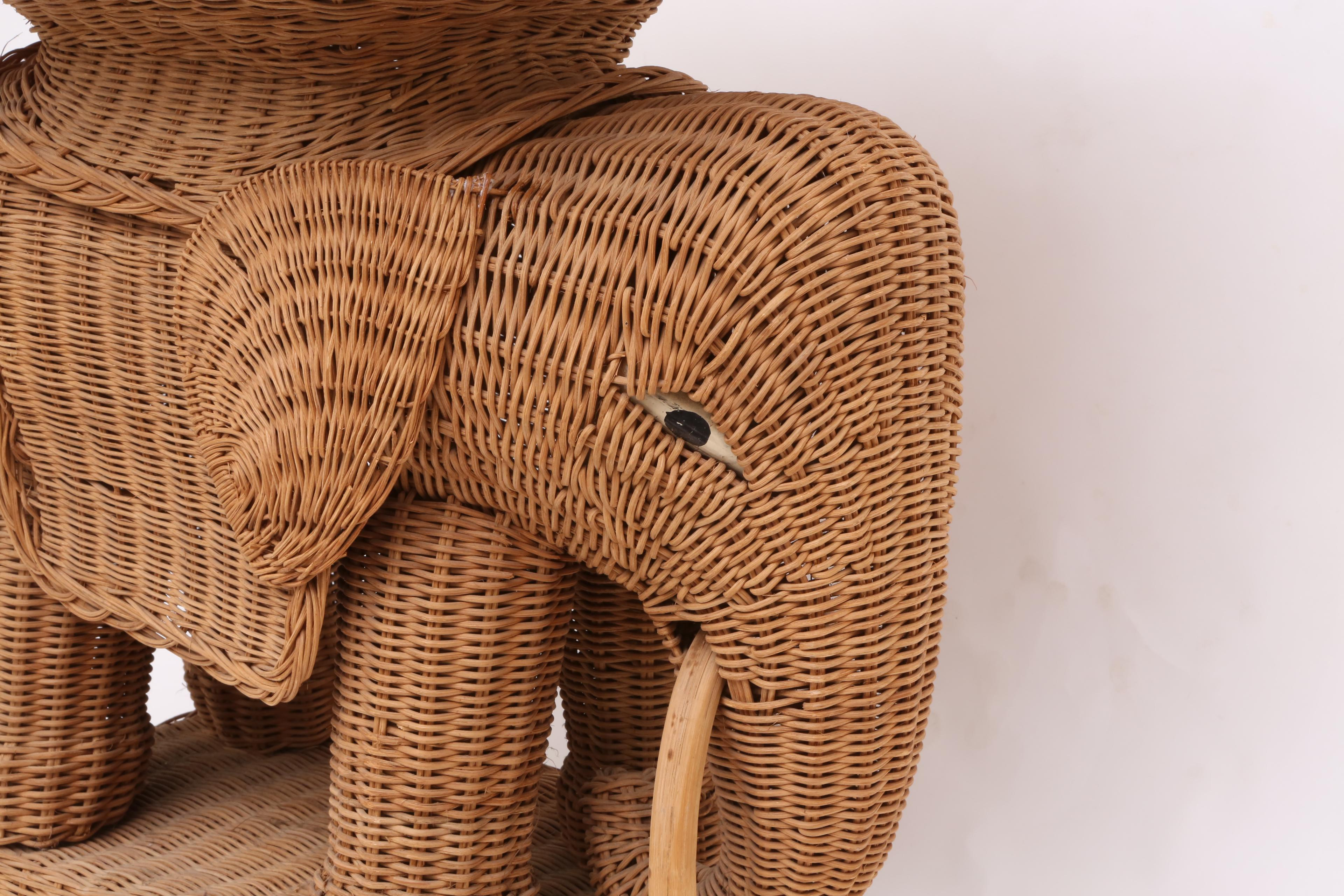 Awesome Vintage Rattan Wicker Elephant Side Table   Image 4 Of 9