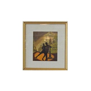"""Framed Original Spanish """"Tango"""" Watercolor Painting For Sale"""