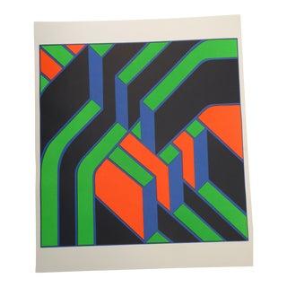 Vintage Jurgen Reipka Large Op Art Monotype Print