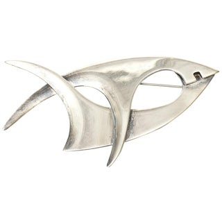 Sterling Silver Hallmarked Sigi Pineda Modernist Abstract Pin/ Brooch For Sale