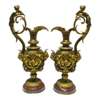 Antique 19th C French Dore Signed Victor Paillard Figural Bronze Ewers - a Pair For Sale