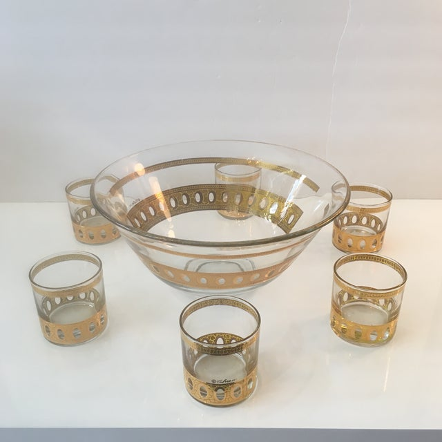 Mid-Century Modern Culver Ltd Glass Ice Bucket/ Punch Bowl With Matching Glasses For Sale - Image 10 of 11