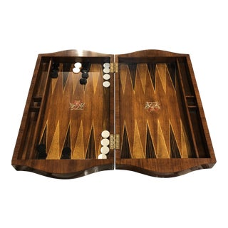 Backgammom Box With Bowed Ends For Sale