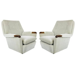 Pair of Vintage Italian Lounge Chairs in Holly Hunt Velvet For Sale