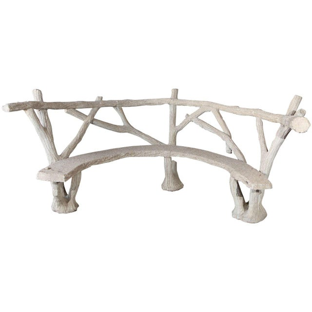 Faux Bois Curved Bench For Sale - Image 10 of 10
