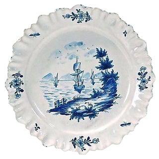 Antique Dutch Delft Ships in Cove Plate