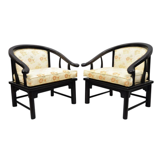 Century Chair James Mont Horseshoe Ming Style Lounge Armchairs - a Pair For Sale