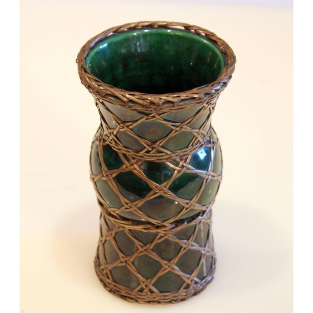 Green Antique Awaji Pottery Gu Form Vase Brass Weaving For Sale - Image 8 of 10