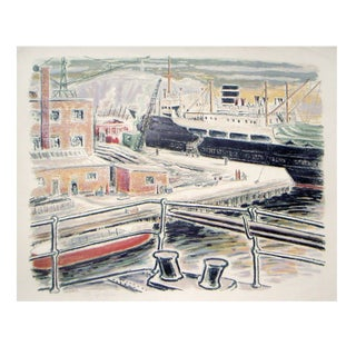 Alexanderson Swedish Harbor 1940s Color Lithograph For Sale