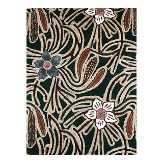 China Seas Bunga Cotton Fabric in Green - 4 Yards For Sale