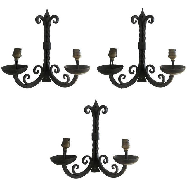 French Two-Arm Wrought Iron Sconces For Sale - Image 4 of 4
