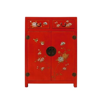 Chinese Red Vinyl Leather Side Table Shoe Cabinet