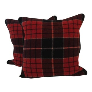 Vintage Stadium Blanket Wool Pillows - a Pair