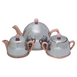 Mid-Century Chrome & Pink Ceramic Tea Set - 3 Pieces For Sale
