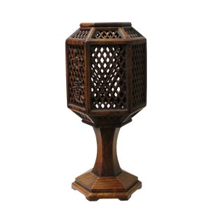 Chinese Hauli Rosewood Hexagon Shape Carving Table Lamp Candle Holder For Sale