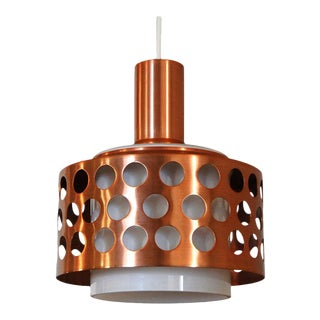 Vintage Mid-Century Swedish Copper & Glass Pendant For Sale