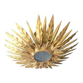Gilt Spanish Sunburst With Textured Glass For Sale