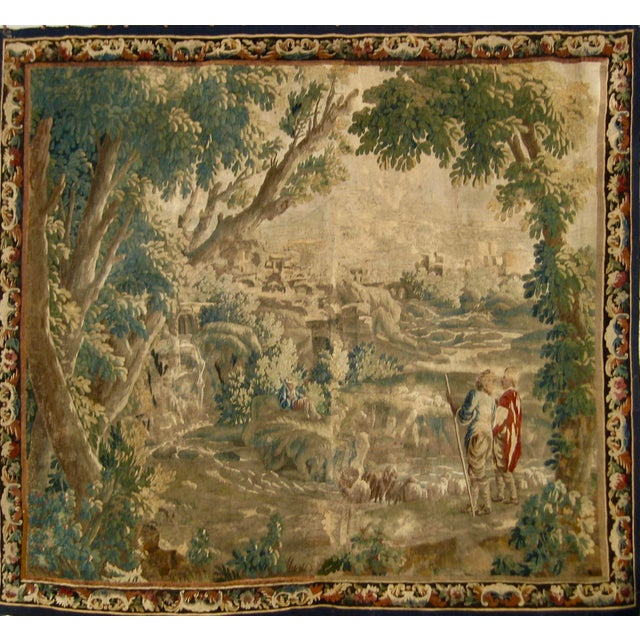 This Aubusson verdure can be classify in what we call scene pastorale very in vogue in the 1700 hundreds in France and all...