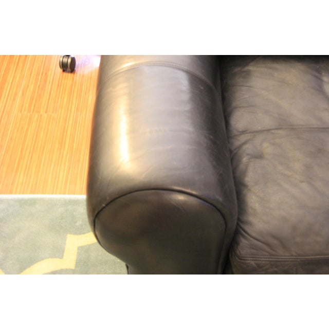 Maurice Villency Down Filled Black Leather Sofa For Sale In Los Angeles - Image 6 of 11