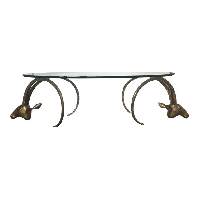 Brass Ibex Heads Mid-Century Coffee Table For Sale