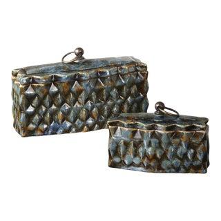 Rustic Uttermost Neelab Ceramic Decorative Boxes - Set of 2 For Sale