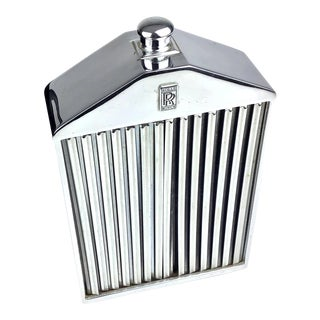 Vintage 1962 Chromium and Glass Rolls Royce Grill Flask, England For Sale