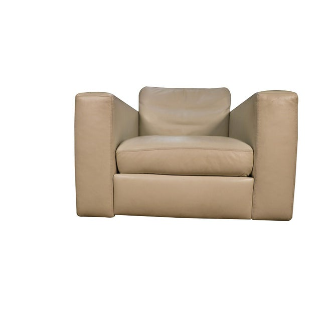 American Leather Mid Century White Leather Swivel Armchair for Design Within Reach For Sale - Image 4 of 11