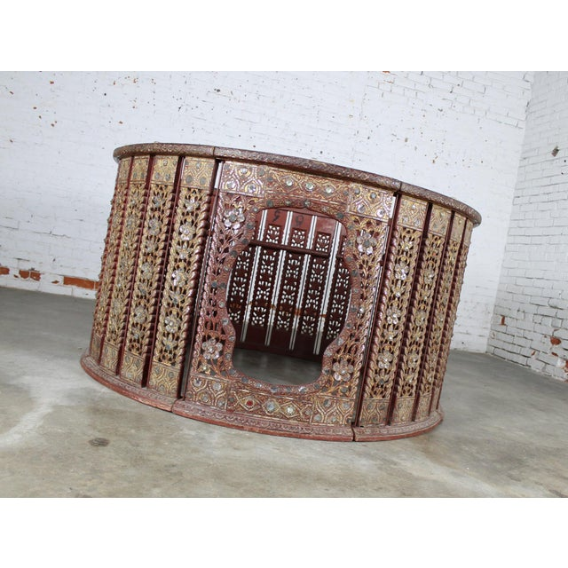 Antique Burmese Orchestral Hsain Wain Drum Circle Carved Panel Table - Image 7 of 11